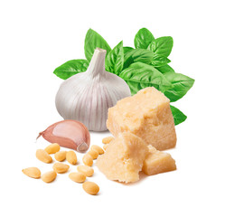 Fresh pesto ingredients, green basil, garlic clove, parmesan cheese and pine nuts isolated on white background
