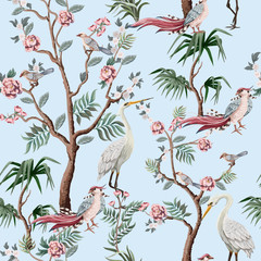 Seamless pattern in chinoiserie style with storks, birds and peonies. Vector, - 320866180