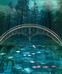 Zelfklevend Fotobehang Groen blauw Dark and foggy forest landscape with a bridge over a crystal clear pond