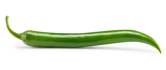 Acrylic Prints Hot chili peppers Green chili pepper isolated on white