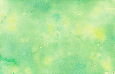 Fototapete - Pastel faded green and yellow hand painted watercolor background design with paint bleed fringing in pretty art design on watercolor paper texture, soft fresh spring color background with no people