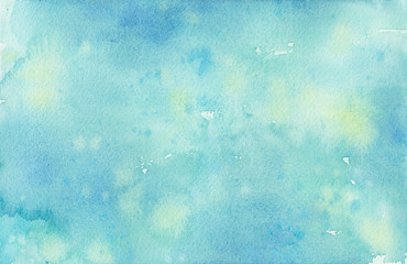 Pastel faded blue hand painted watercolor background design with paint bleed and fringing in pretty art design on watercolor paper texture, soft sky or spring color background with no people