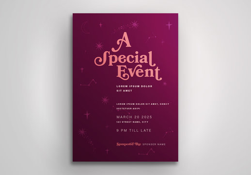Purple Event Poster Layout with Shooting Star Pattern Element