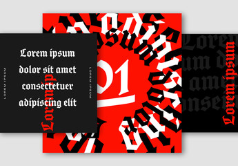 Red and Black Social Media Post Layout Set with Bold Typography