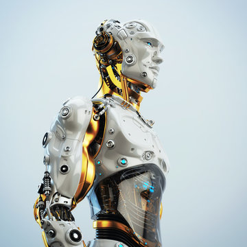 Futuristic handsome man with headphones in profile. 3d rendering of stylish robot listening to music