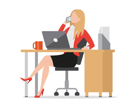 Busy businesswoman talking on phone flat style icon, sitting at workplace, work desk with laptop, manager entrepreneur consulting client, vector illustration.