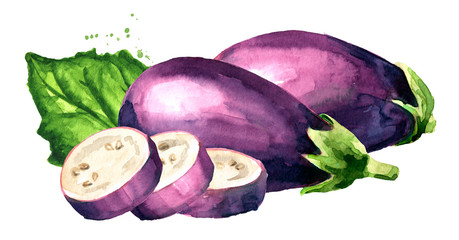Whole and cut Eggplant with green leaf. Hand drawn watercolor illustration, isolated on white background