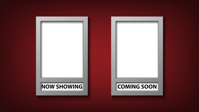 Movie poster frame template with now showing and coming soon, vector illustration