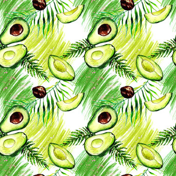 hand drawn watercolor green avocado, slices, tropical branches and colorful spots on a seamless white background for use in design, textile, wallpaper, wrapping paper, stationery, fashion