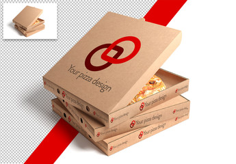 3 Stacked Pizza Boxes Mockup