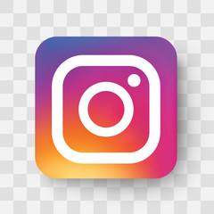 Realistic social media logotype. Instagram icon. Instagram logo with shadow. Social media icon. - stock vector editorial.