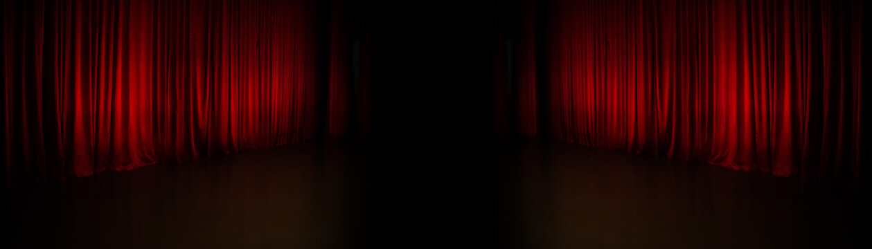 background with red curtain panorama
