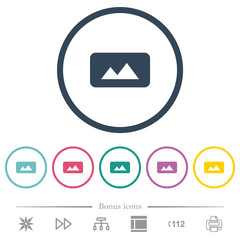 Panorama picture flat color icons in round outlines