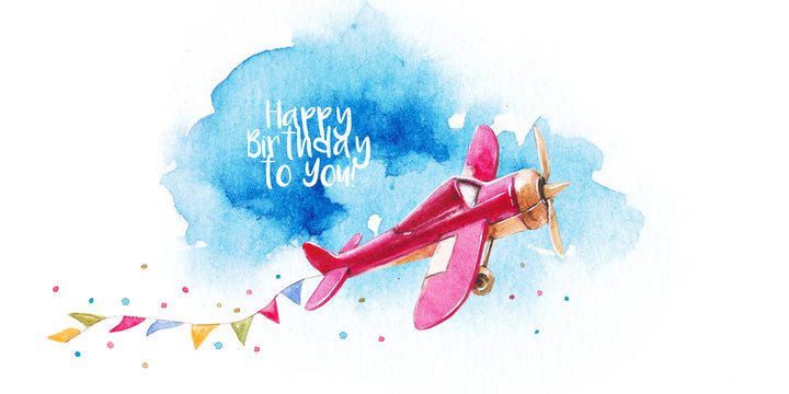 Card watercolor with children's vintage planes, military parade, celebration, party, air show,