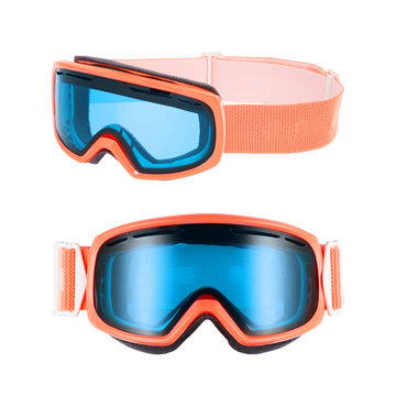 Snow Goggles Isolated on White Background. Side and Front View of Orange and Blue Ski Glasses. Skiing Snowboard Goggles. Modern Sports Unisex Eyewear. Snowboarding Protective Gear