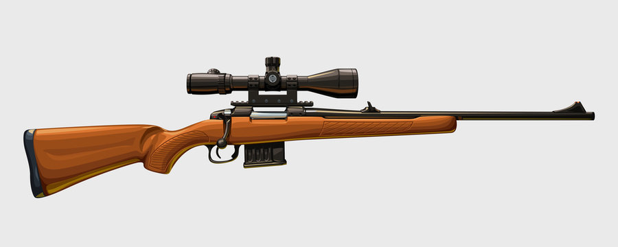 wooden sniper rifle side view