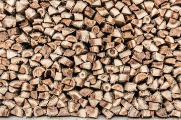Photo sur Aluminium Texture de bois de chauffage texture woodpile with dry firewood, close-up abstraction background