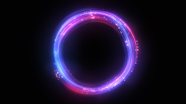 Neon circle. Round frame background. Multiple lines swirls. Blue and pink color. Glowing ring. Isolated on black.