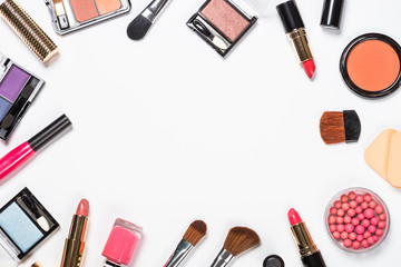 Makeup professional cosmetics on white.