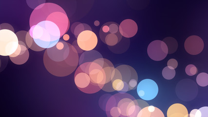 Bright violet bokeh lights abstract background. Flying purple particles or dust. Vivid lightning. Merry christmas design. Blurred light dots.