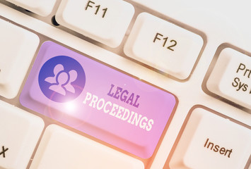 Text sign showing Legal Proceedings. Business photo showcasing procedure instituted in a court of law to acquire benefit