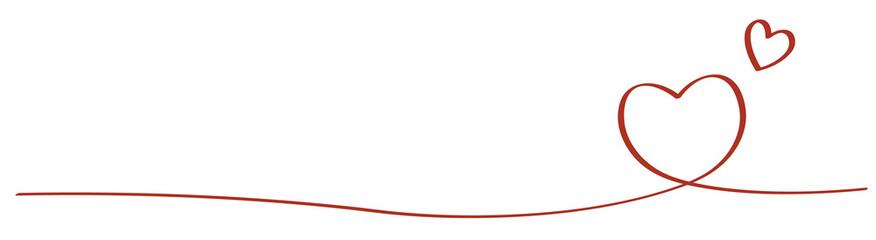 手書きハートのライン 赤