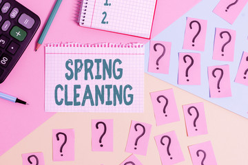 Text sign showing Spring Cleaning. Business photo showcasing thorough cleaning of a house or room during spring Mathematics stuff and writing equipment above pastel colours background