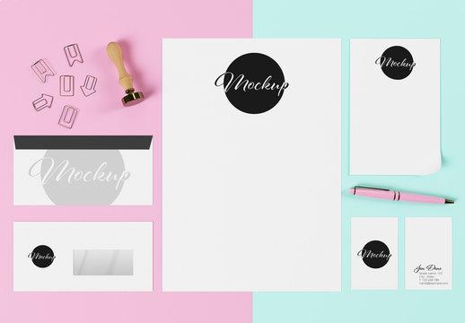 Blue and Pink Stationary Set Mockup