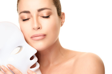 Beauty model with led mask. led skin rejuvenation therapy mask.