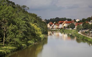 Luziska Nysa river in Zgorzelec. Poland