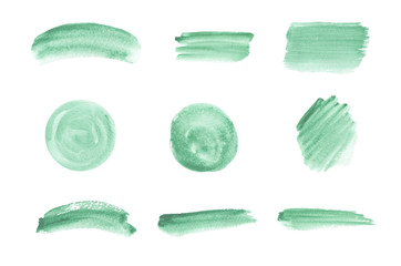 Green brush stroke watercolor texture. Hand drawing watercolor washes. Trendy templates for banner, flyer, poster, save the date, greeting Wall mural