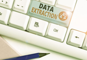 Handwriting text writing Data Extraction. Conceptual photo act or process of retrieving data out of data sources Wall mural