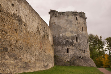 Vyshka (Tall) tower of fortress of Izborsk. Russia
