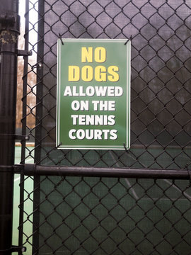 NO DOGS sign tennis court