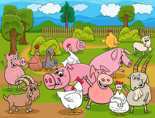 farm animals cartoon characters group