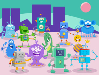 Cartoon Aliens and Robots Fantasy Characters group