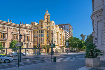 Plaza Tetuan with the Santo Domingo Convent and a residential building at  General Palanca Street, 1 in Valencia, Spain