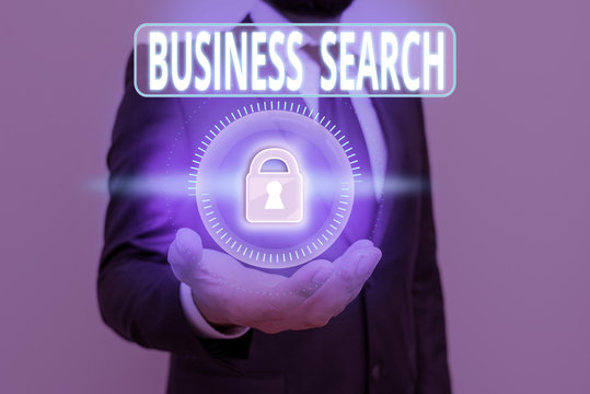 Handwriting text Business Search. Conceptual photo the act of looking for valuable information about a company