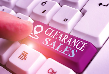 Handwriting text Clearance Sales. Conceptual photo goods at reduced prices to get rid of superfluous stock