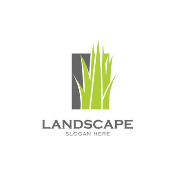 Grass in the square symbol.Gardening logo design template