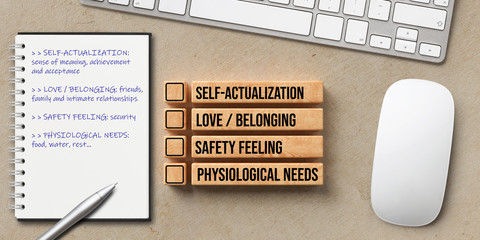 checklist for the hierarchy of needs on wooden blocks at a workplace