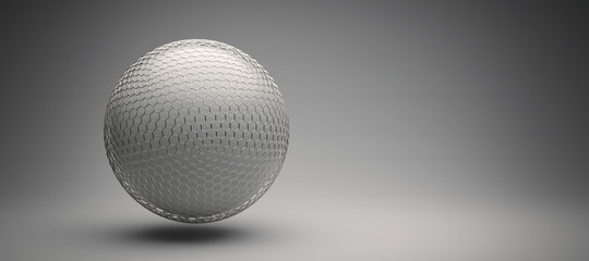 protective hexagon grid around a white sphere
