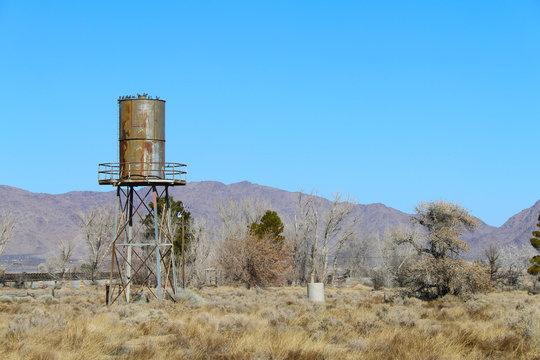 an old west desert water tower