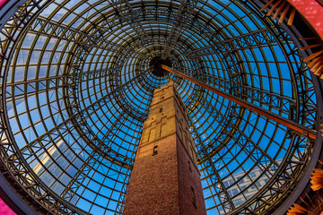 Melbourne Central Shot Tower, view from under the glass dome looking up, Melbourne, Victoria, Australia