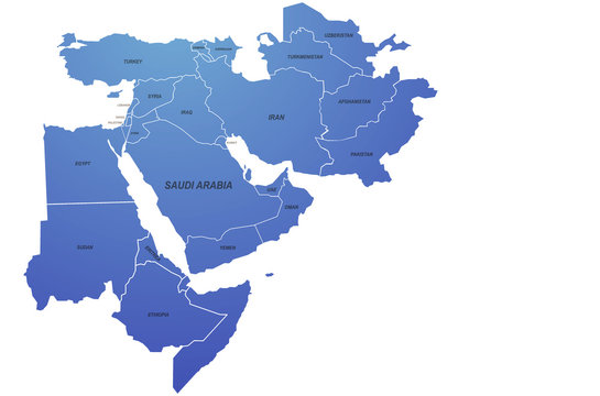 middle east map. arap countries map. map of the world by region. graphic design world map.