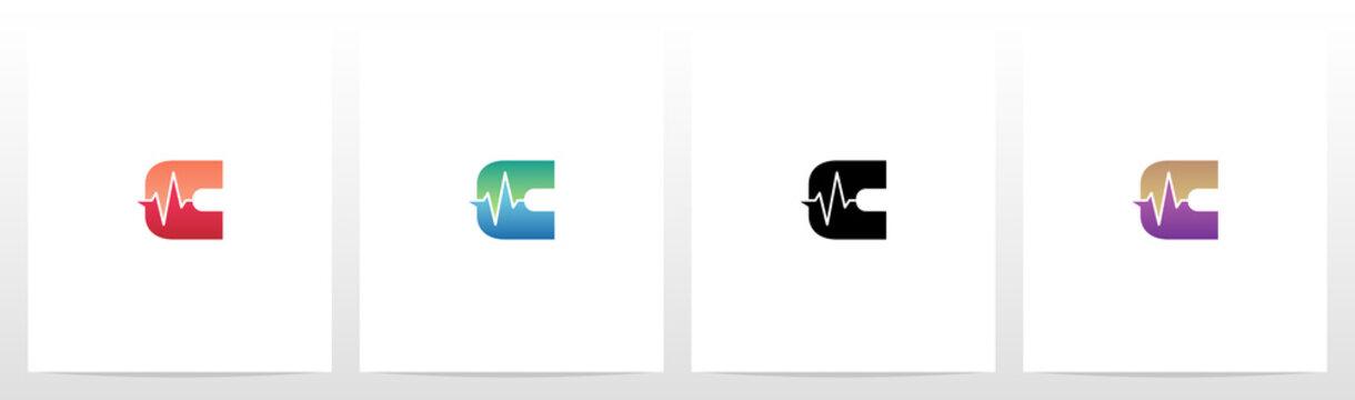 Pulse Line On Letter Logo Design C