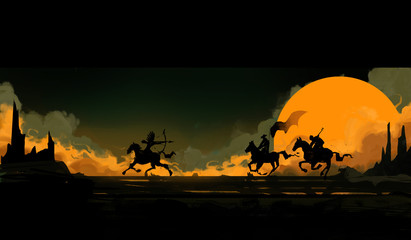 Contrasting image of cowboys chasing an Indian on horseback art style