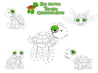 Connect The Dots and Draw Cute Turtles Cartoon Set. Educational Game for Kids. Vector Illustration Happy Animal