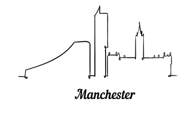 Fotomurales - One line style Manchester skyline. Simple modern minimalistic style vector.