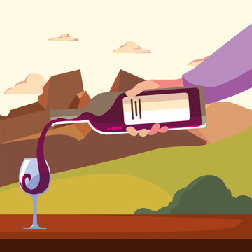 Wine bottle and cup in front of landscape vector design